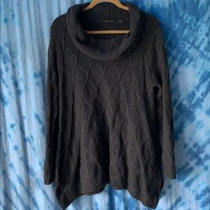 Charcoal Gray Cowl Neck Knitted Sweater